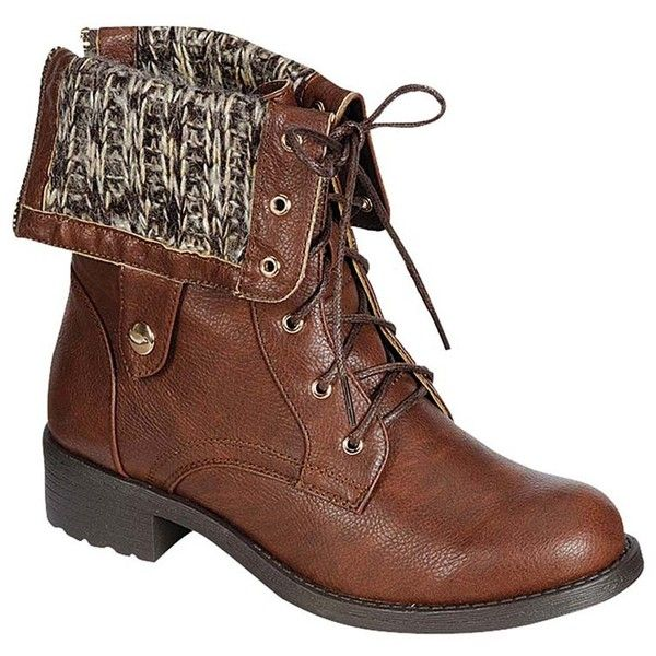 Refresh Dason Lace-Up Combat Boot ($30) ❤ liked on Polyvore featuring shoes, boots, ankle booties, ankle boots, brown, military boots, short brown boots, lace up booties, brown boots and combat boots
