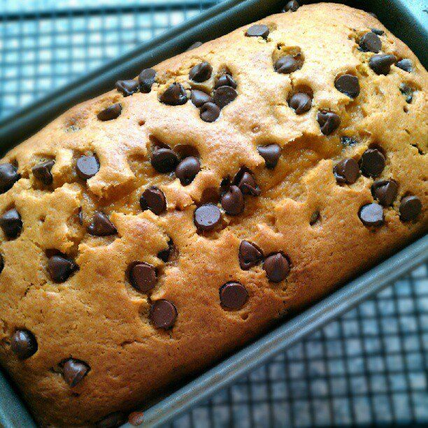Pumpkin chocolate chip bread- finally a recipe WITHOUT 3 cups of sugar!