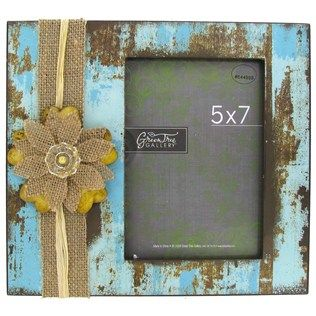 5 x 7 blue brown distressed frame with flower
