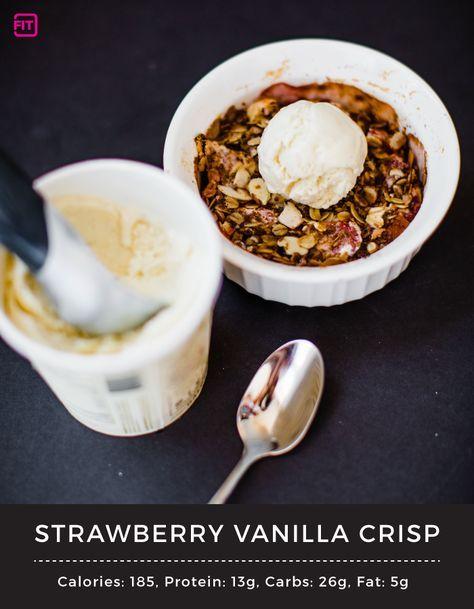 Strawberry Vanilla Crisp -- IdealFit Protein Recipes #SummerDessert #EasyDessert #FruitDessert