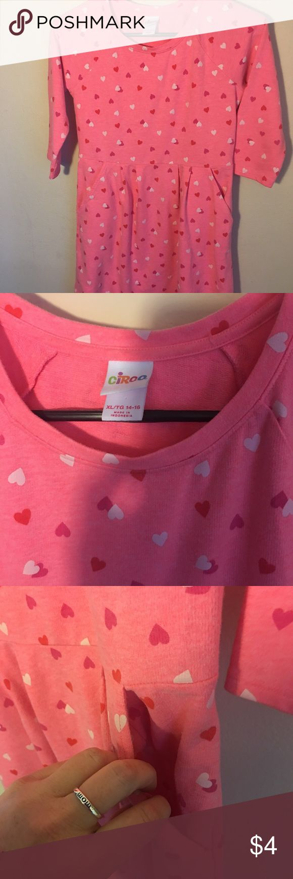 Circo Valentines Dress Size Girls 14/16 Used Dress by Circo great for Valentine's Day.  Super cute Size 14/16 XL Girls Pocket heart dress Circo Dresses Casual