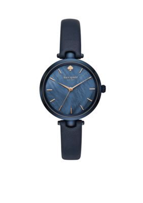 Kate Spade New York Women's Women's Stainless Steel Holland Leather Strap Watch - Navy - One Size