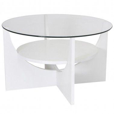 Modern White Round Glass Coffee Table Uni