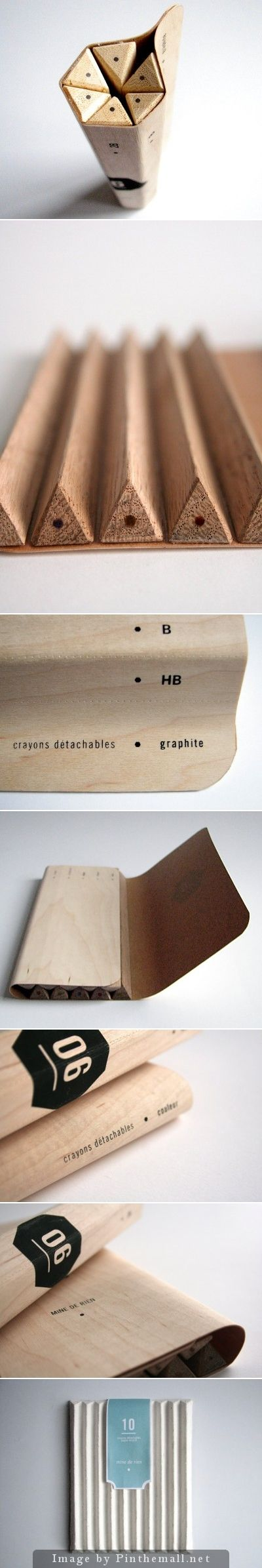 Maude Bussières | Nice concept of detachable pencils #packaging created from a single sheet of wood.