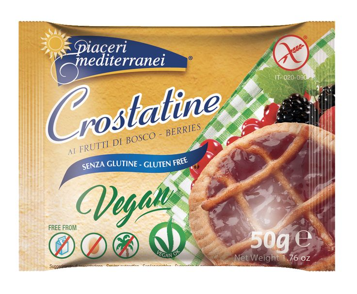 Crostatine ai frutti di bosco Le nuove Crostatine ai frutti di bosco sono state realizzate con l'utilizzo d'ingredienti di alta qualità, solo di origine vegetale. Non contengono olio di palma e sono senza latte e lattosio.   www.piacerimediterranei.it/prodotti/dolci-senza-glutine/crostatine-ai-frutti-di-bosco
