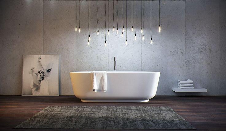 Bathroom: Window Over White Soaking Bathtub With Floating Vessel Sink Wooden Ceramic Floor Tiles For Bathroom Flooring White Adjustable Floor Lamp Black Standing Floor Mirror Frame from 4 Tips to Set Bathroom Flooring