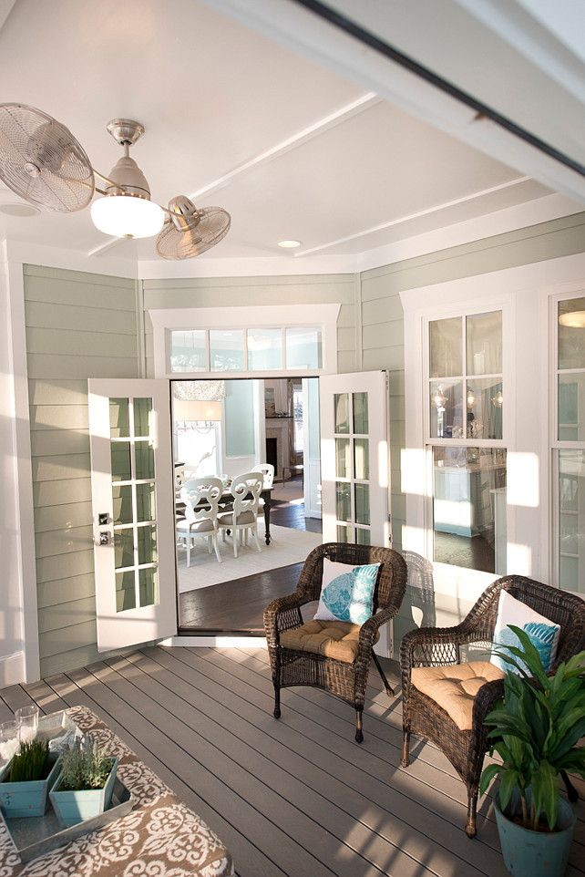 Porch. Porch Decor. Porch Furniture. Porch fan. Porch Paint Color. The Easy Living all-season conditioned screen porch, softening the boundary between indoors and out. #Porch