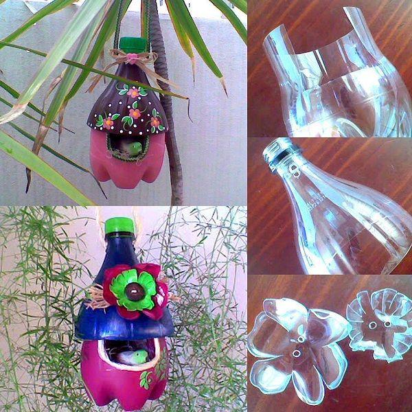 caseta per ocells amb ampolla de plàstic