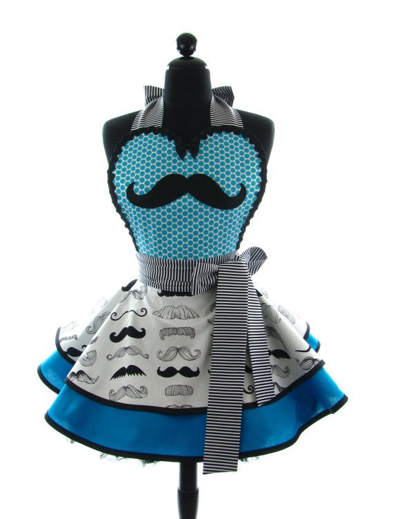DotsDiner Apron Turquoise MyStache Sexy in by bambinoamore, $79.00 I WANT! minus the mustaches tho