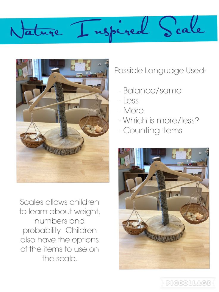 Trillium Child Care Centre: scale made out of tree stump/branch & hanger with baskets.