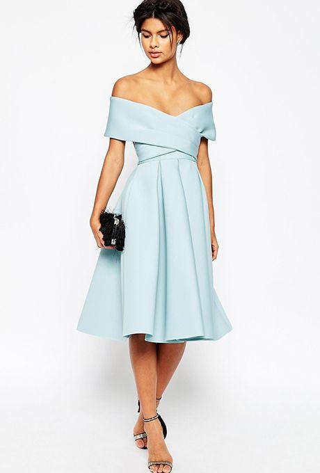Brides.com: . Off-the-shoulder midi scuba dress, $118.60, ASOS
