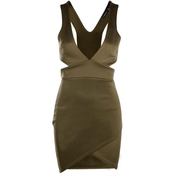 Petite Nancy Cut Out Mini Bodycon Dress ($2.61) ❤ liked on Polyvore featuring dresses, brown cocktail dress, bodycon cocktail dress, brown dress, cut out cocktail dresses and mini cocktail dress