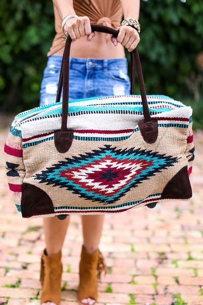 "OMG! Oversized weekender travel bag in bohemian beautiful SouthWestern blanket fabrics. This bag is an oversized large weekender measuring 22""L x 11""W x 13""H an"