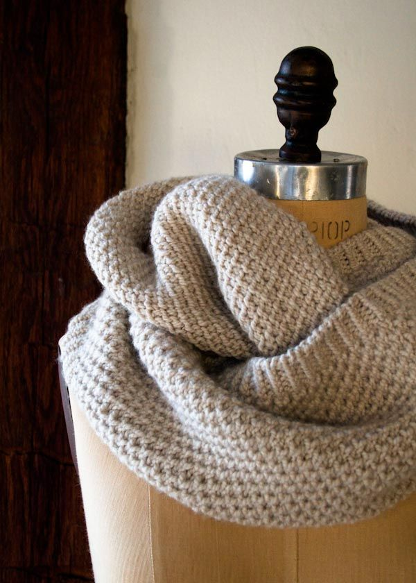 A Classic Cowl pattern by Purl Soho.  Knitted Cowl would make a very classy addition to any wardrobe.