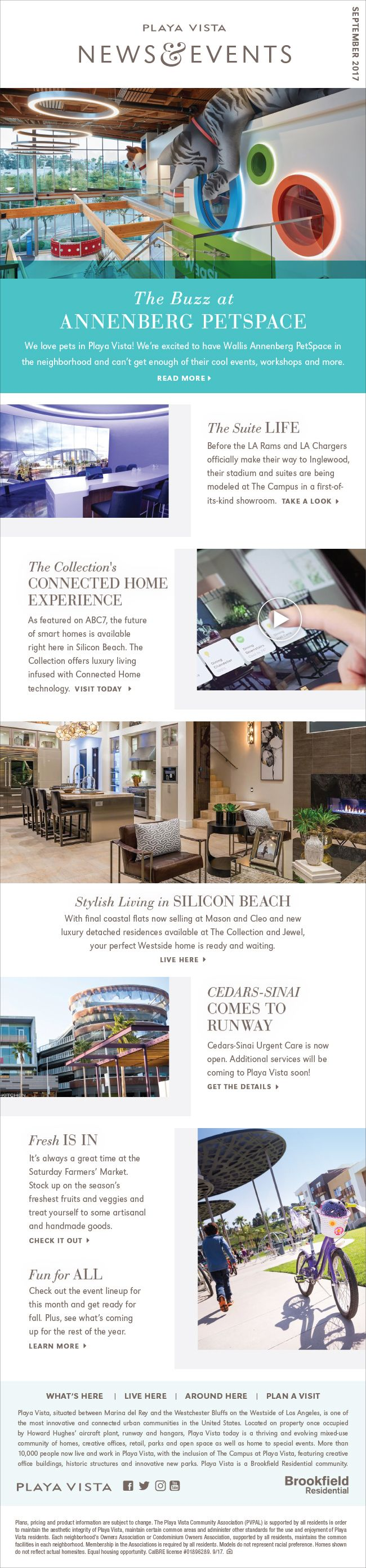 New Homes for Sale in Playa Vista, California  Playa Vista September News & Events  Visit these Sophisticated and Luxurious Homes      You can walk or bike to shopping, dining, and entertainment!     Catch a Ride on the Daily Shuttle     Google is  at The Campus in Playa Vista  http://playavista.com/