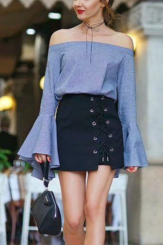 60+ Insanely Cute and Stunning Spring / Summer Outfits Lookbook - flared sleeves off the shoulder top with lace up mini skirt. Money Making Style