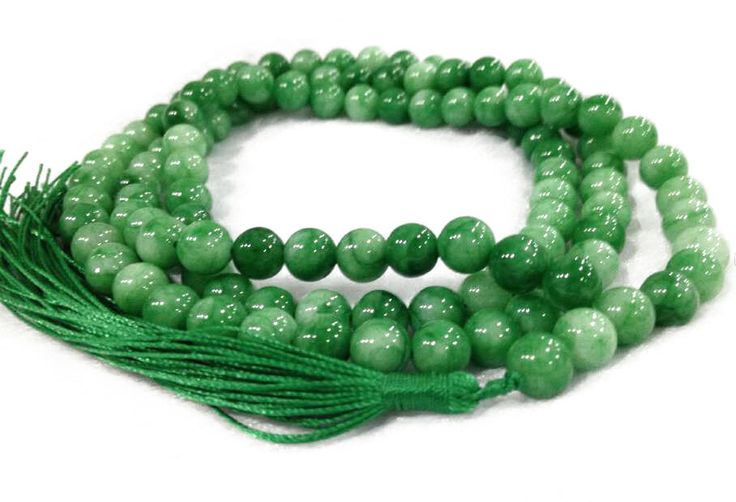 Natural Green Jade Meditation Beads