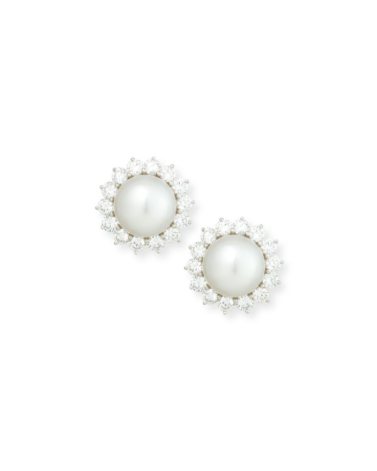 Assael South Sea Pearl & Bezel-Set Diamond Button Clip Earrings KuMfiP