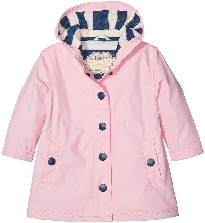 The Hatley Kids Classic Pink Splash Jacket for toddlers features a  water-resistant polyurethane shell