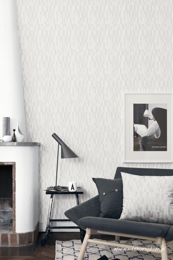tapeta w stylu skandynawskim - geometryczny wzór w odcieniu złamanej bieli.