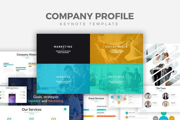 Company Profile Keynote Template by Rocketo Graphics on @creativemarket
