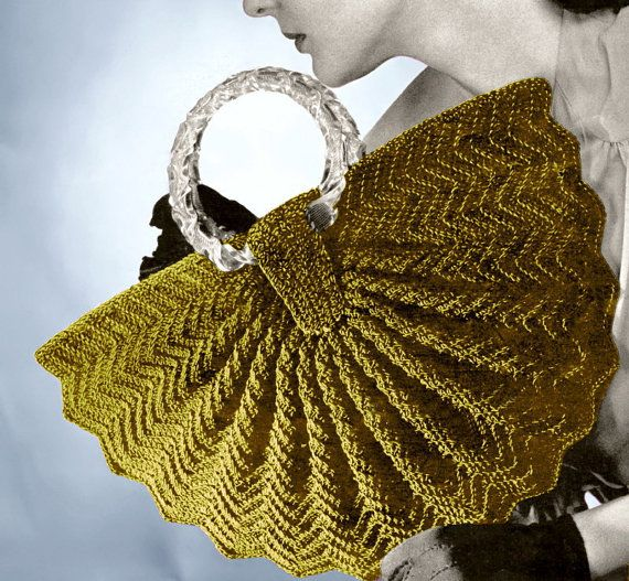 1940s Half Moon Fan Purse #Crochet bag