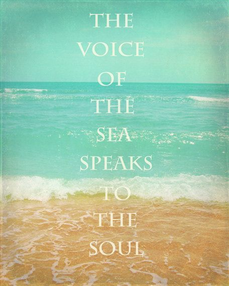 Beach Quote Art Print Inspirational Aqua Tan Beach House