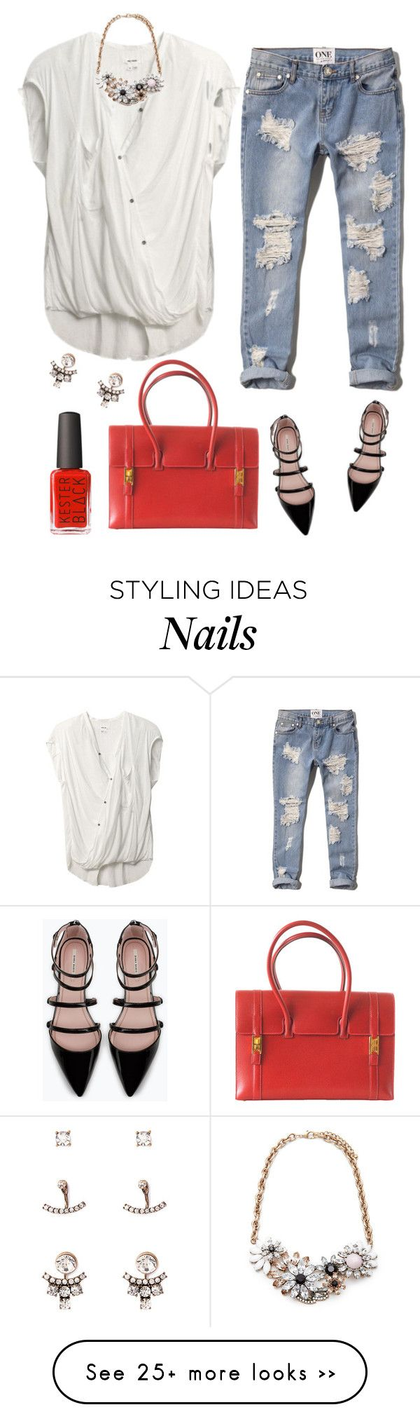 """""""Red Bag"""" by mk-style on Polyvore featuring Forever 21, Abercrombie & Fitch, Helmut Lang, Zara and Hermès"""