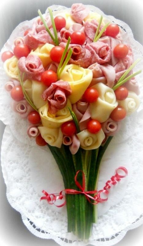 hors d'oeurvres -ham and cheese bouquet ~Debbie Orcutt ❤