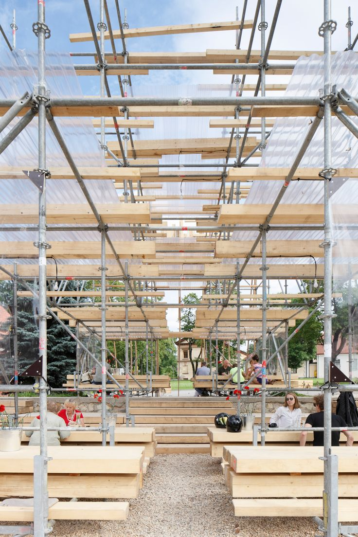 Wood ceilings marker construction - Mail Tis Aiim Builds Scaffolding And Timber Pavilion At Latvian Brewery
