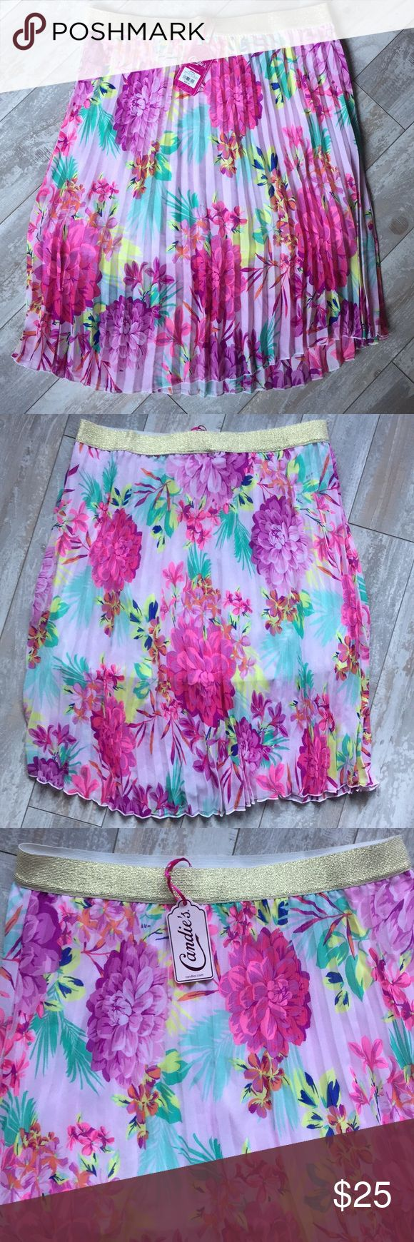 """Candie's Skirt Candie's Skirt. Candie's pink, magenta & green flower print, pleated, lined, 100% polyester, 24"""" in length with gold elastic 1.5"""" waist band skirt. 100% polyester. Washable. Candie's Skirts"""