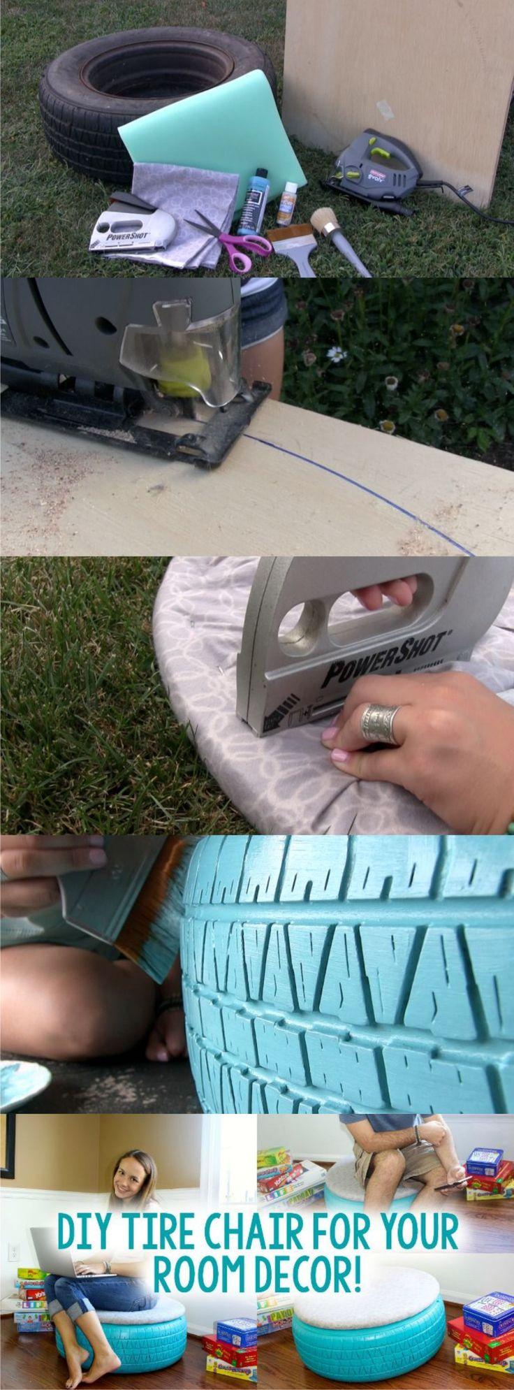 Puf reciclando neumático / Vía http://www.alittlecraftinyourday.com/