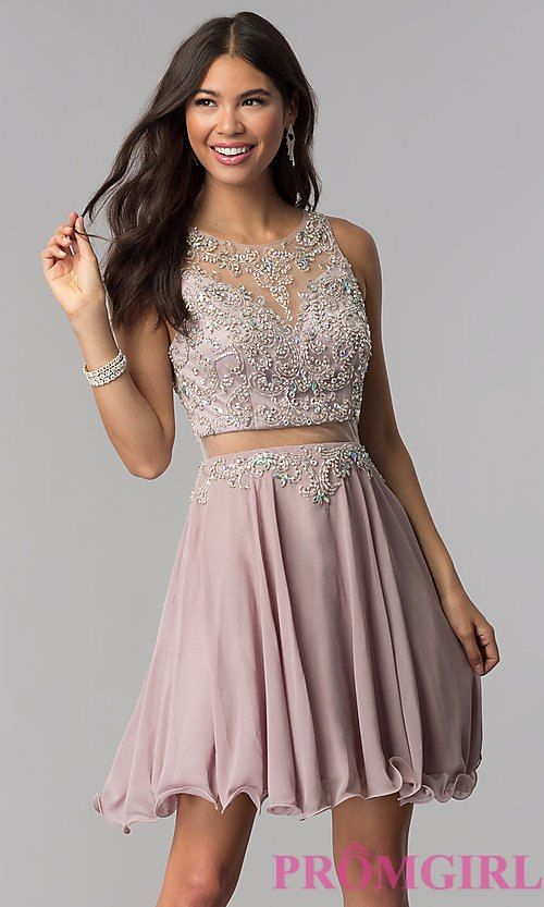 05ad6ec38b2 Short Mock-Two-Piece Homecoming Dress by PromGirl