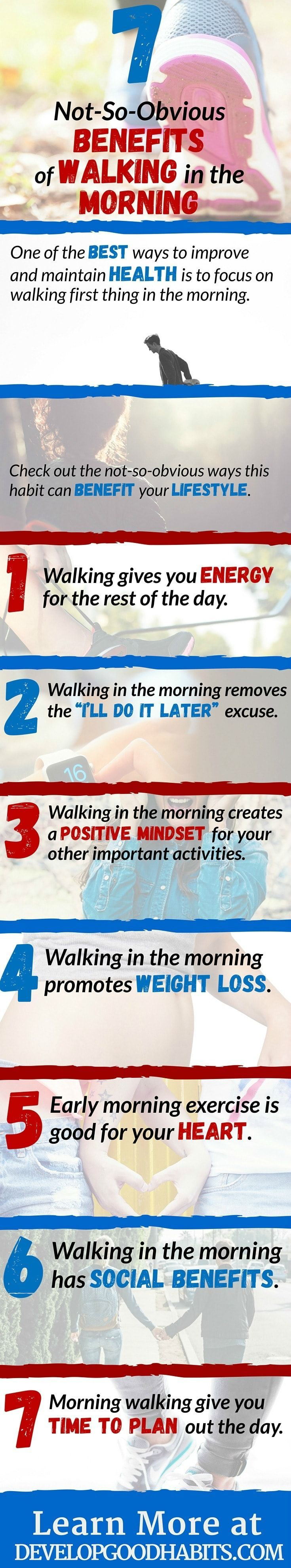 Benefits of walking in the morning. MORE reasons to think about making a morning walk part of your daily routine.