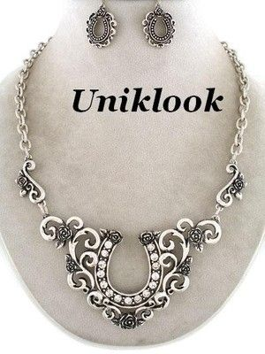 Chunky Silver Tone Clear Crystal Western Horseshoe Cowgirl Necklace Earrings Set