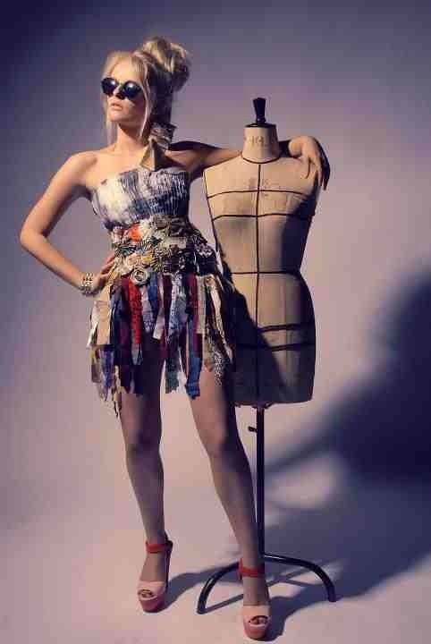 Dress made out of recycled materials, e.g fabric, paper, metal, tins, card and wrappers