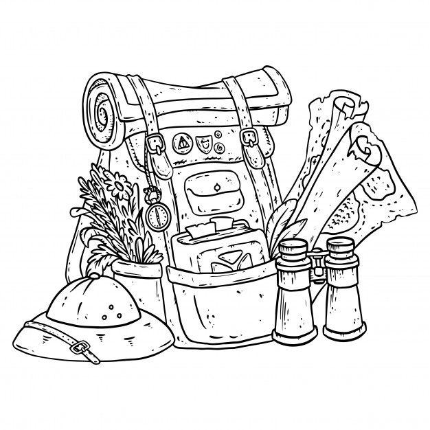 Adventurer Pack Lineart Illustration For Coloring Illustration Book Illustration Bag Illustration