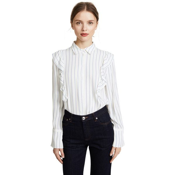 Club Monaco Carolina Shirt (570 SAR) ❤ liked on Polyvore featuring tops, stripe, long sleeve tops, folding shirts, striped long sleeve shirt, white top and white long sleeve shirt