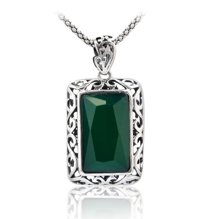 Серебро серебро подвески 925 чистого серебра женщины apotropaic зеленый агат серебро подвески