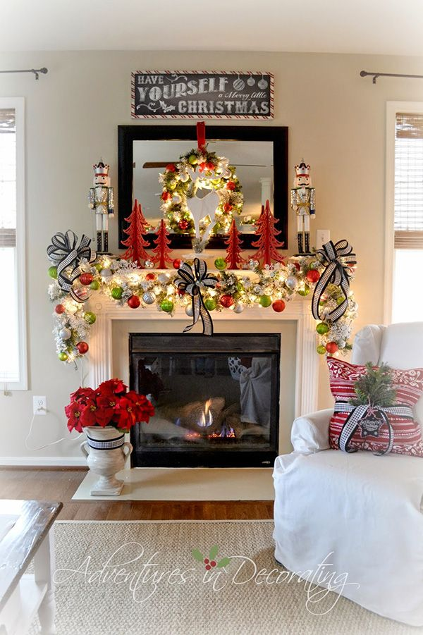 Holiday Mantel Ideas • Lots of fabulous projects and ideas! Including, from 'adventures in decorating', this beautiful fairy tale Christmas mantel.