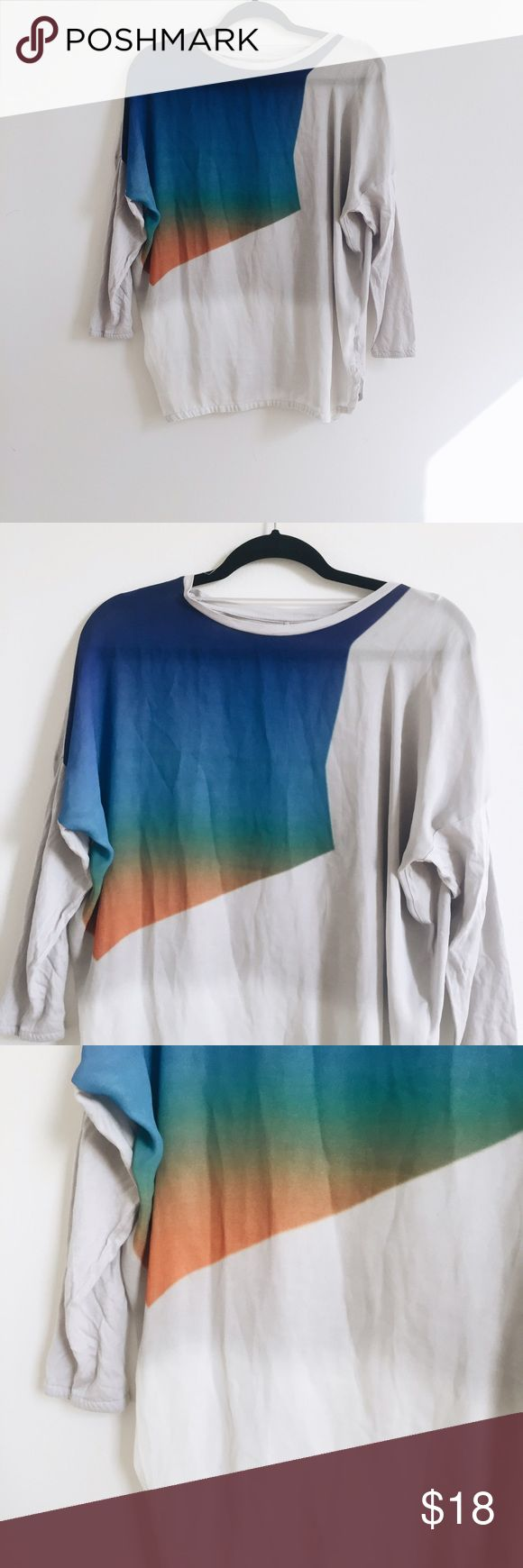 ✨DISCOUNTED✨Sheer Gradient Multi-Coloured Top✨🍉🌴 Never been worn. NWOT. Lightweight colourful long sleeve top. Beautiful colour gradations across the front. Comfortable and loose for a casual fit :) 🔵⚪️🔶🍉🌺 Zara Tops