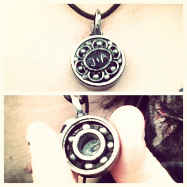 A pendant made from my boyfriends broken skateboard bearing and an embellishment from Michaels. The bearing still spins too!