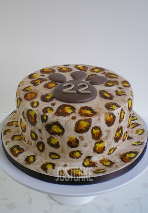 Leopard Print 22nd Birthday Cake by Just Cake Nofolk