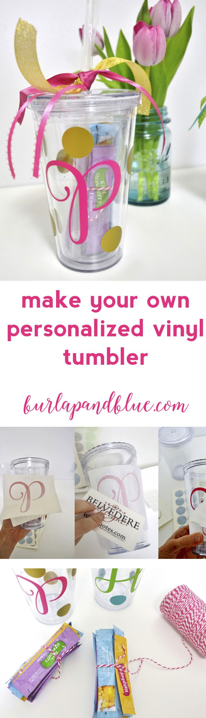 make your own personalized vinyl tumbler! easy craft and perfect for gifts (especially teacher gifts!)