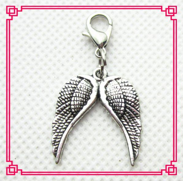 Venta caliente 20 unids/lote ala del Ángel cuelga los encantos corchete de la langosta colgantes encantos Diy medallones flotantes encantos de la joyería