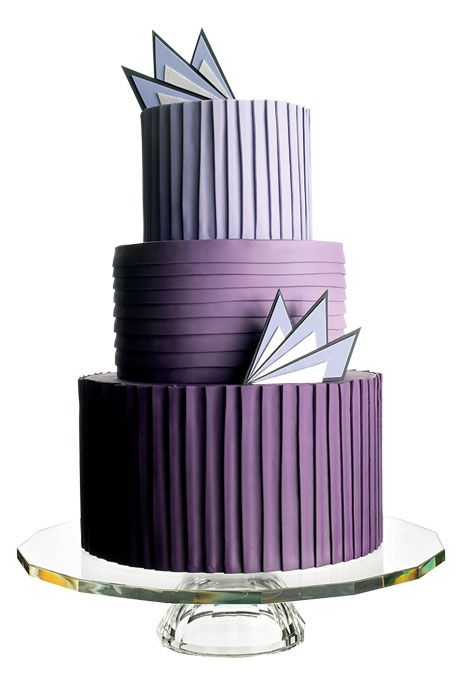 Brides: The Most Creative Wedding Cakes Of The Year | Art Deco-inspired angled cake  | Cake by Cheryl Kleinman Cakes