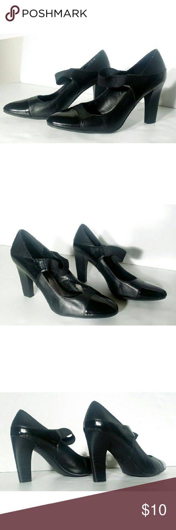 Simply Vera Wang Womens Black Leather Heels Tear inside but not noticeable once you wear it.. Size 8 Very adorable!! Fast shipping!! Simply Vera Vera Wang Shoes Heels