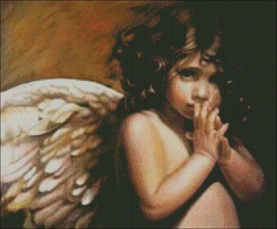 Angel Child Cross Stitch Pattern PDF by lisalskinner on Etsy