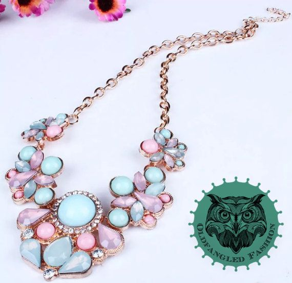 Costume Bib Necklace with Pink & Blue by OldfangledFashions