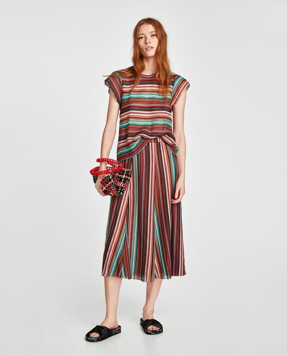 ZARA - WOMAN - SKIRT WITH MULTICOLORED STRIPES